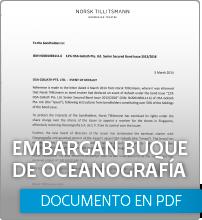 Embargan buque de oceanografía