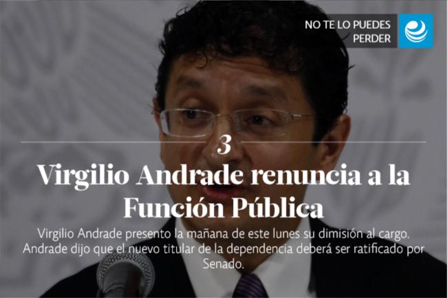 Virgilio Andrade renuncia a la Función Pública