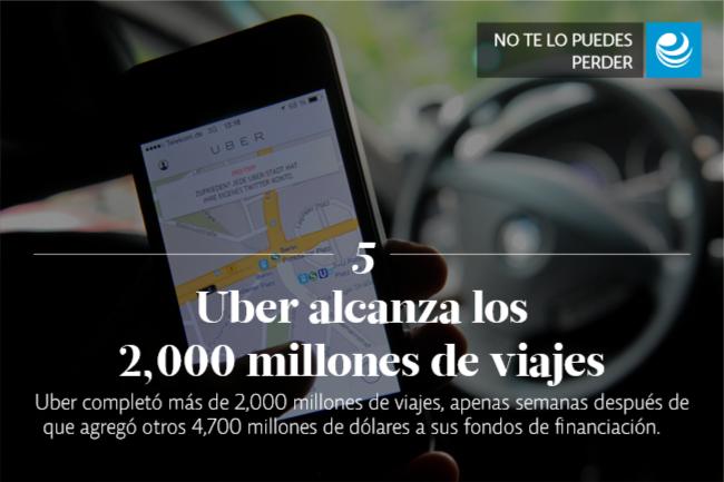 Uber alcanza los 2,000 millones de viajes