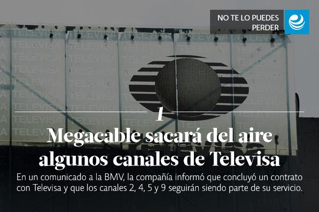 Megacable sacará del aire algunos canales de Televisa