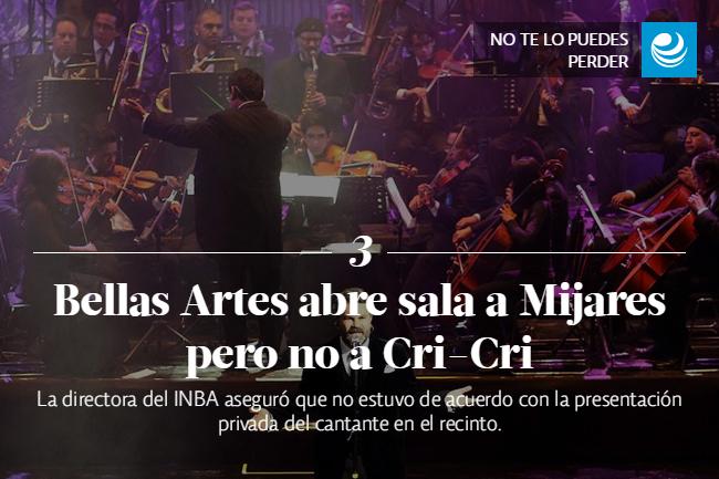 Bellas Artes abre sala a Mijares pero no a Cri-Cri