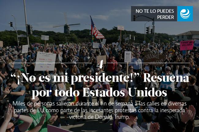 ¡No es mi presidente!  Resuena por todo Estados Unidos