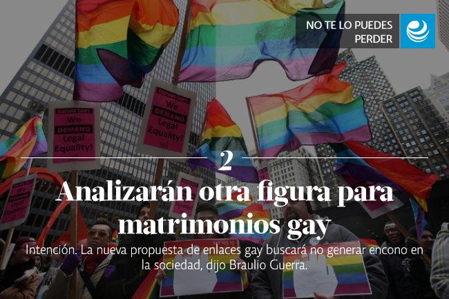 Analizarán otra figura para matrimonios gay