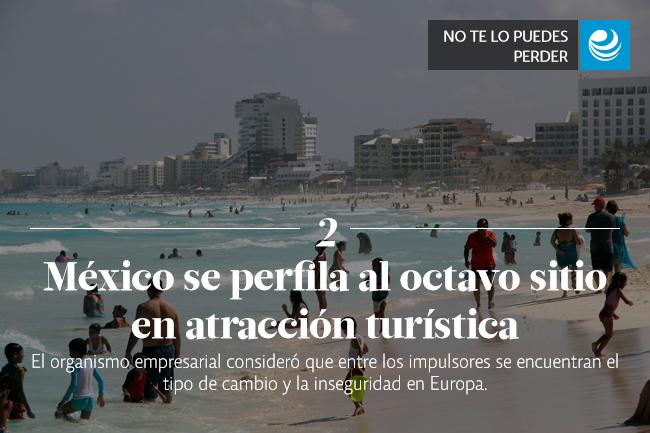 México se perfila al octavo sitio en atracción turística