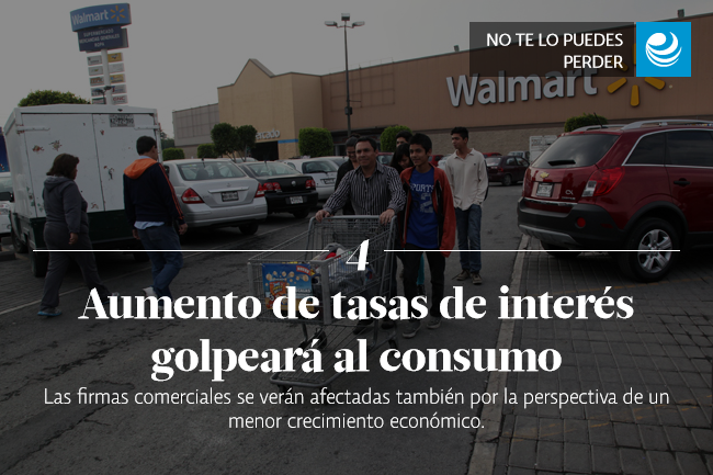 Aumento de tasas de interés golpeará al consumo