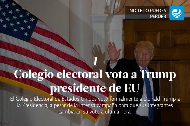 Colegio electoral vota a Trump presidente de EU