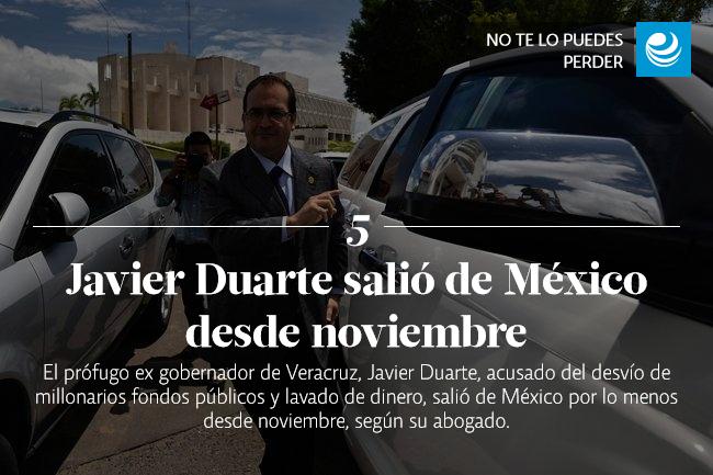 Javier Duarte salió de México desde noviembre