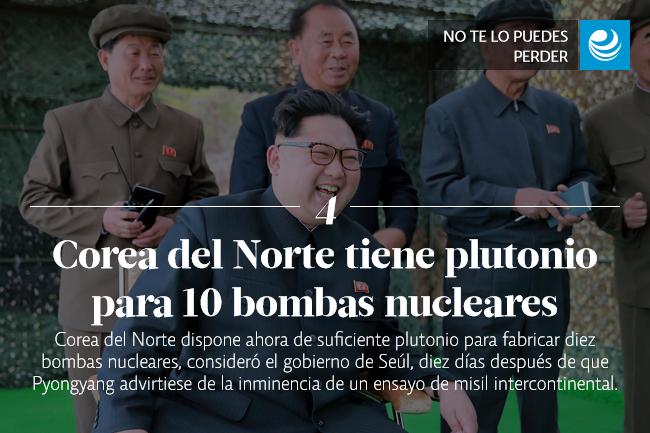 Corea del Norte tiene plutonio para 10 bombas nucleares