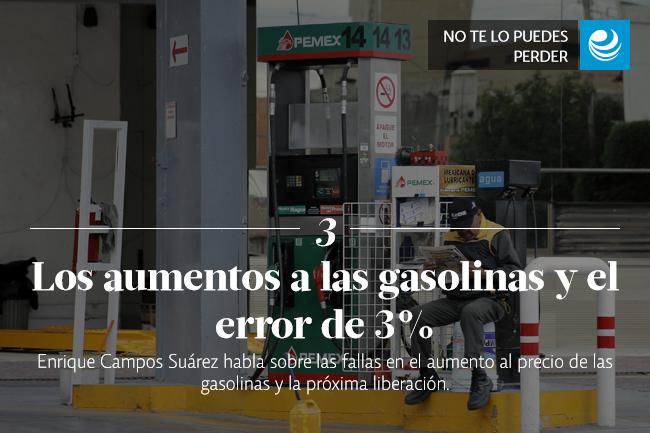 Los aumentos a las gasolinas y el error de 3%