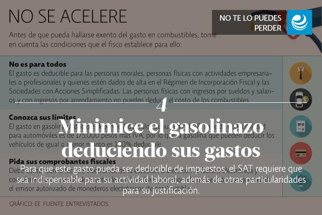 Minimice el gasolinazo deduciendo sus gastos