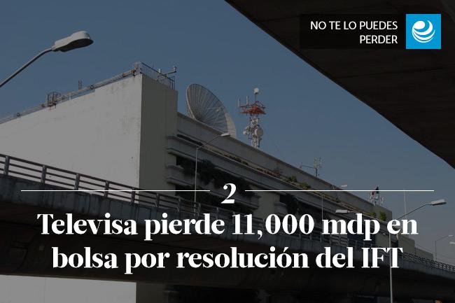 Televisa pierde 11,000 millones de pesos en bolsa por resolución del IFT