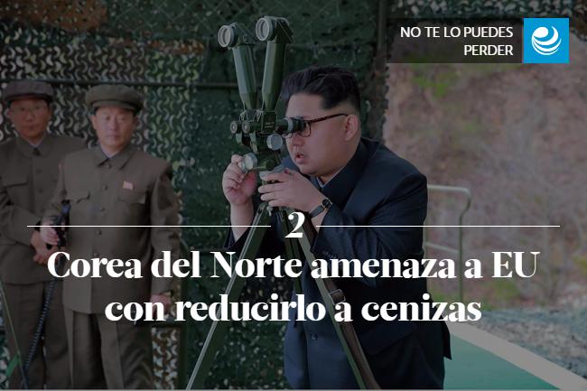 Corea del Norte amenaza a EU con reducirlo a cenizas