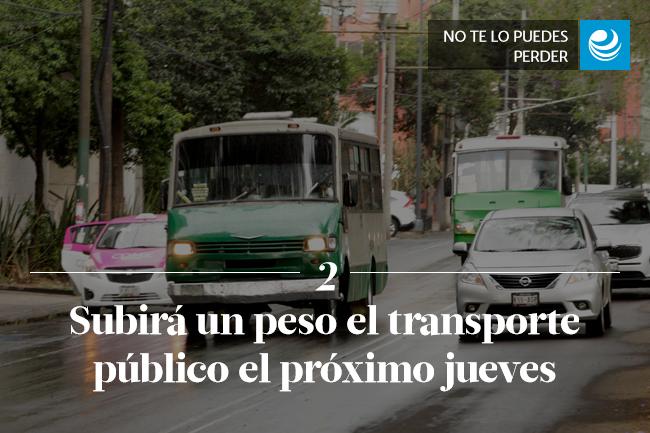 Subirá un peso el transporte público el próximo jueves