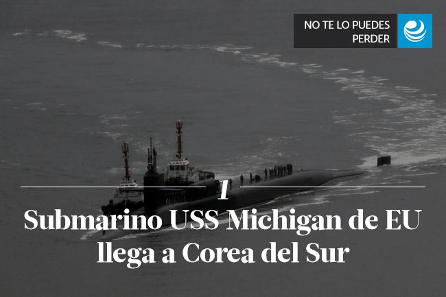 Submarino USS Michigan de EU llega a Corea del Sur