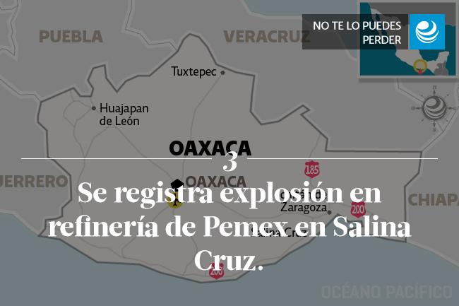 Se registra explosión en refinería de Pemex en Salina Cruz.