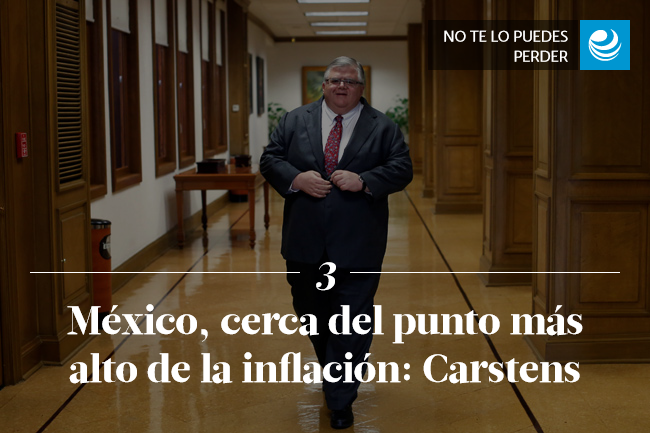 México, cerca del punto más alto de la inflación: Carstens