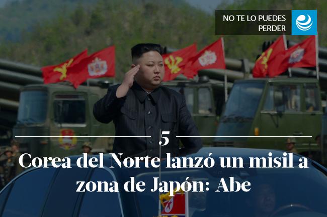 Corea del Norte lanzó un misil a zona de Japón: Abe