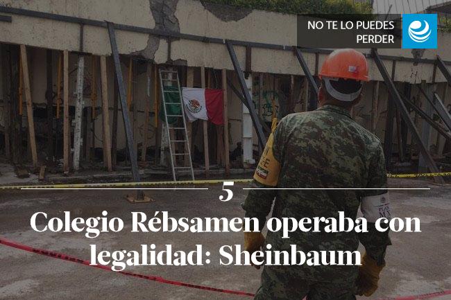 Colegio Rébsamen operaba con legalidad: Sheinbaum